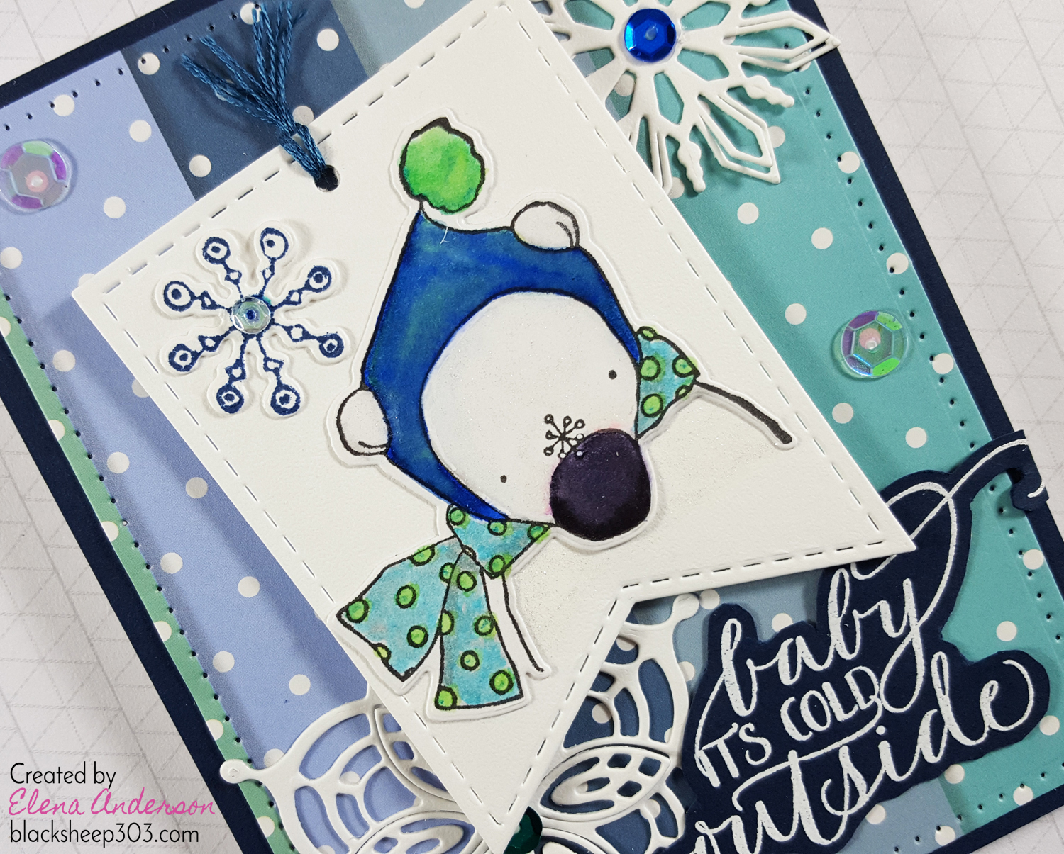 Crazy 4 Challenges Tag Card with Elizabeth Craft Designs - Detail