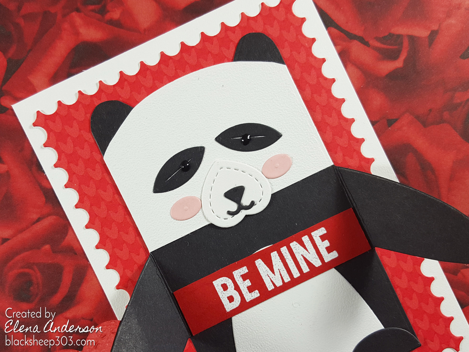 Panda Valentine with Lawn Fawn Woodlawn Critter Huggers - Detail