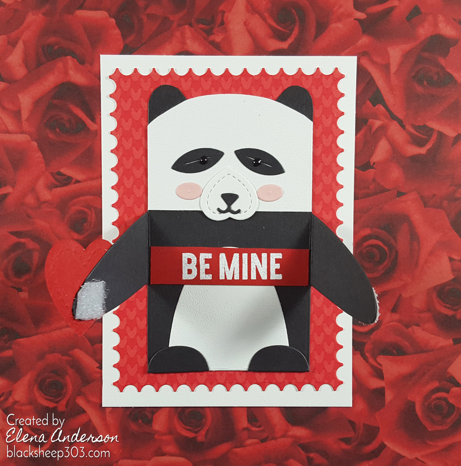 Panda Valentine with Lawn Fawn Woodlawn Critter Huggers