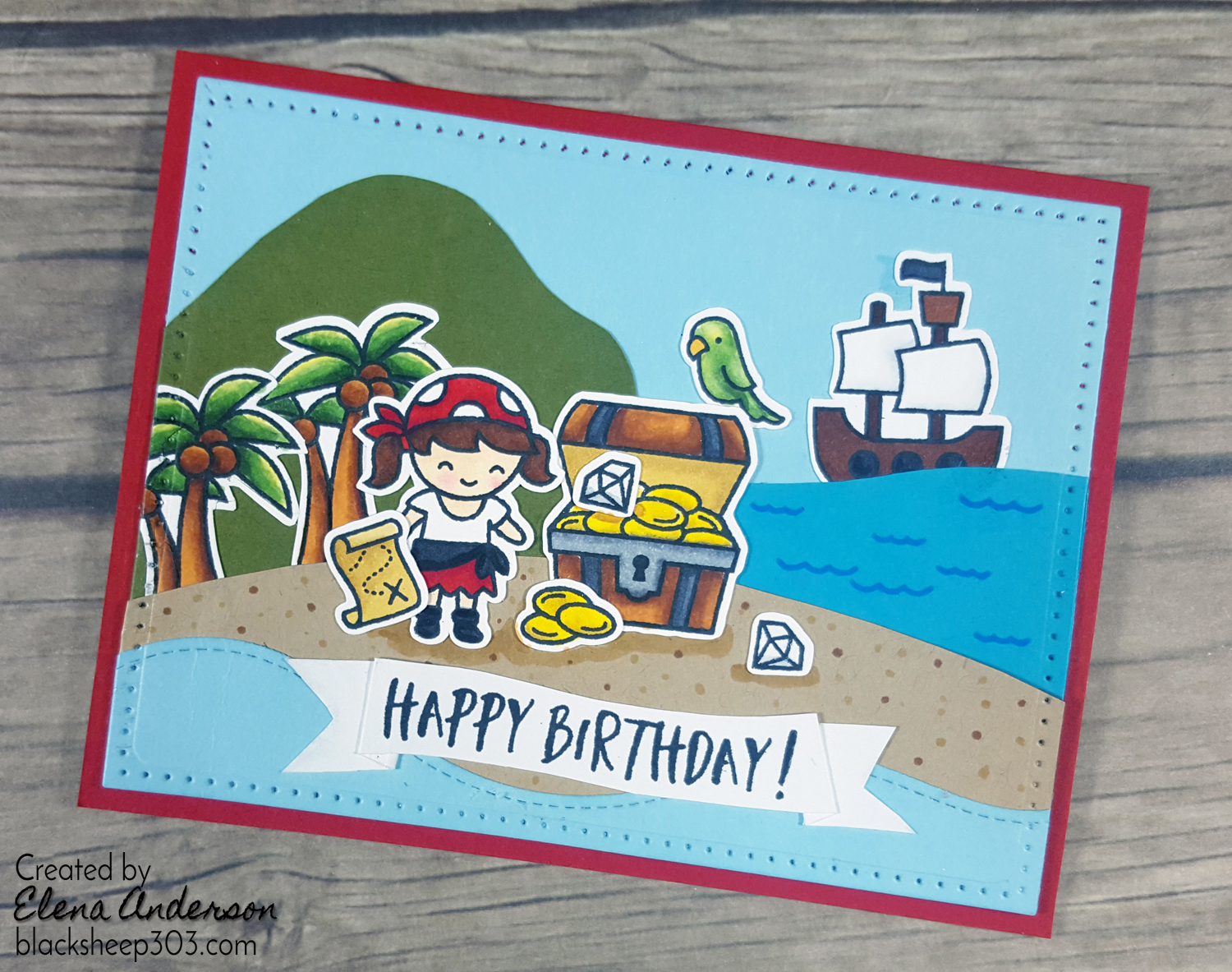 Ahoy Matey Pirate Birthday Card with Lawn Fawn & Spectrum Noir Markers