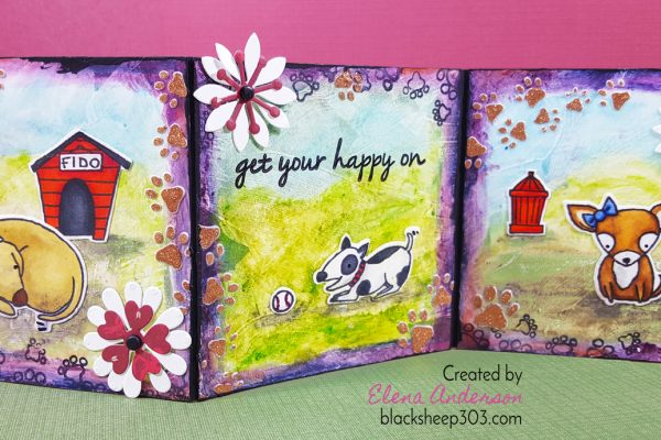 Mixed Media Puppies Triptych with Elizabeth Craft Designs