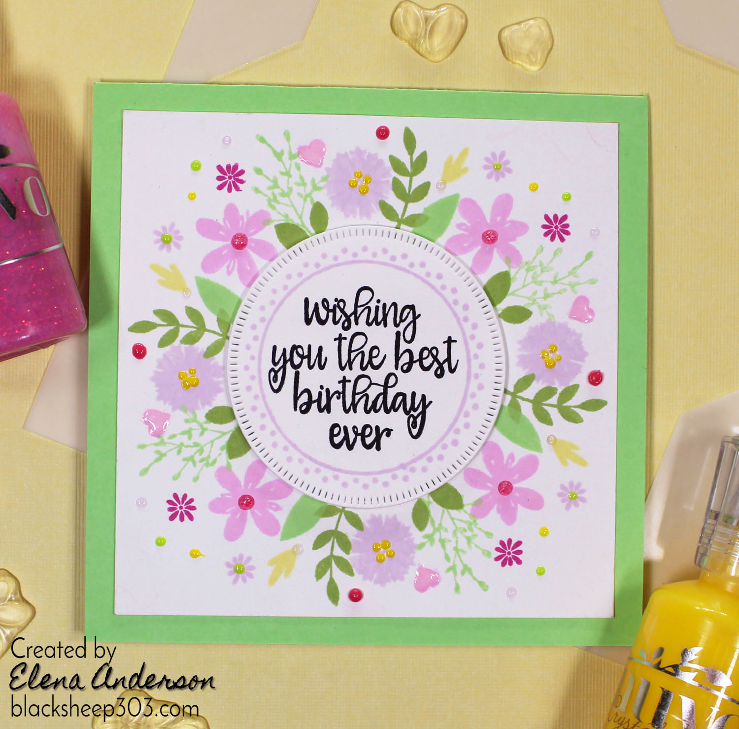 Easy Floral Birthday Card With Gina K Designs Wreath Builder Kit