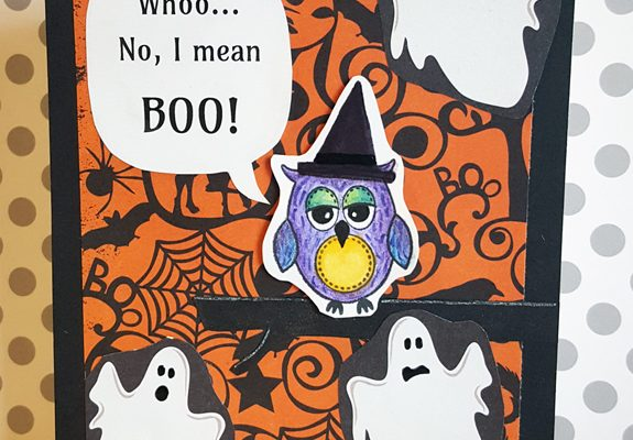 Halloween Witch and Ghosts Card Front