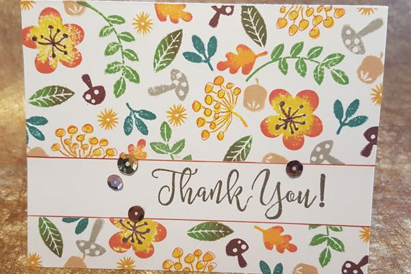 Distress Ink Fall Thank You Card Front