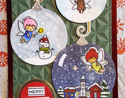 Lawnscaping Geometric Challenge Fairy Ornaments Card