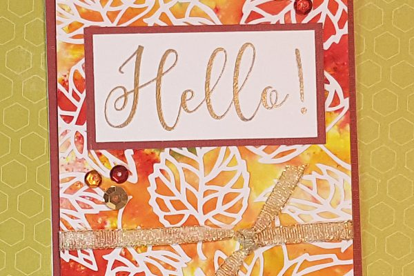 Silhouette & Brusho Fall Leaf Card