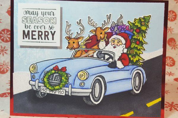 Cruisin' Santa Christmas Card