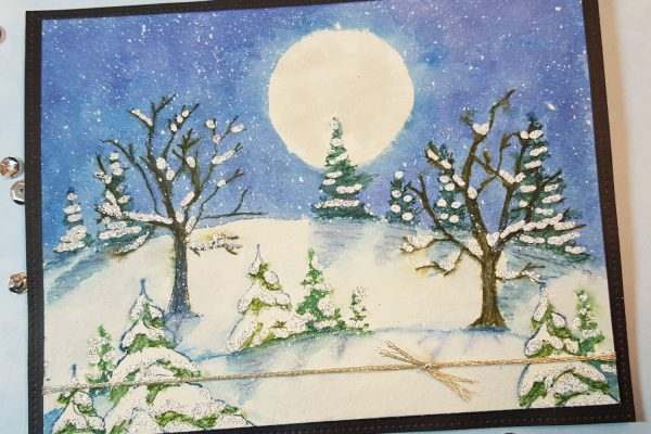 Snowy Hillside Card with Art Impressions Watercolor Trees & Marvy Markers