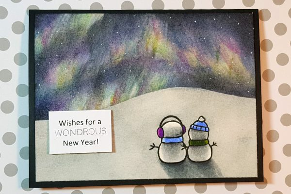 Northern Lights Card with Distress Inks & Spectrum Noirs