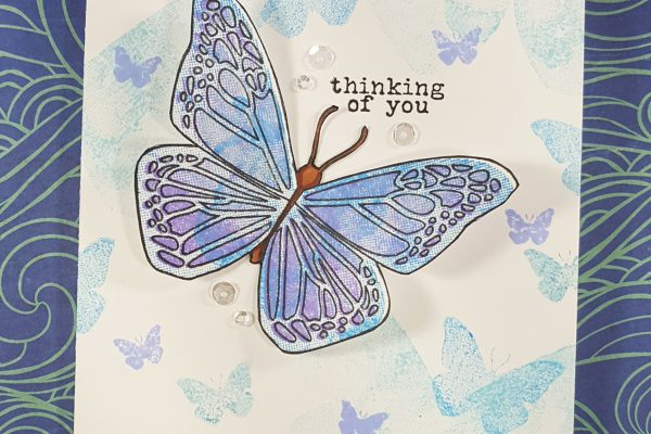 Beautiful Blue Butterflies with Concord & 9th and Distress Inks