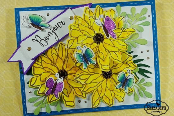 Elizabeth Craft Designs Designers Coloring Challenge - Butterfly and Floral Bonjour