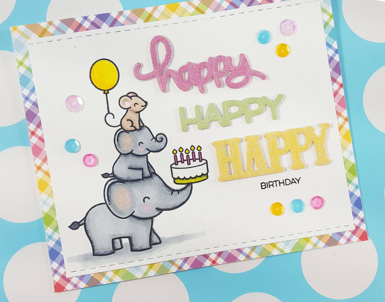Elphie Selfie Birthday Card with Lawn Fawn & Spectrum Noir Markers