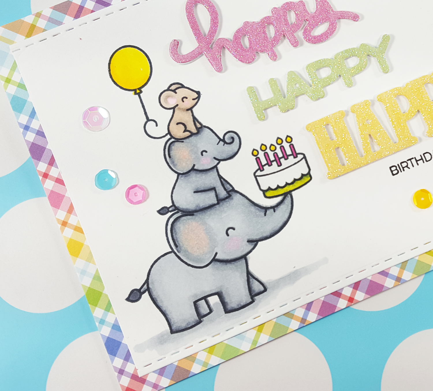 Elphie Selfie Birthday Card with Lawn Fawn & Spectrum Noir Markers - Detail