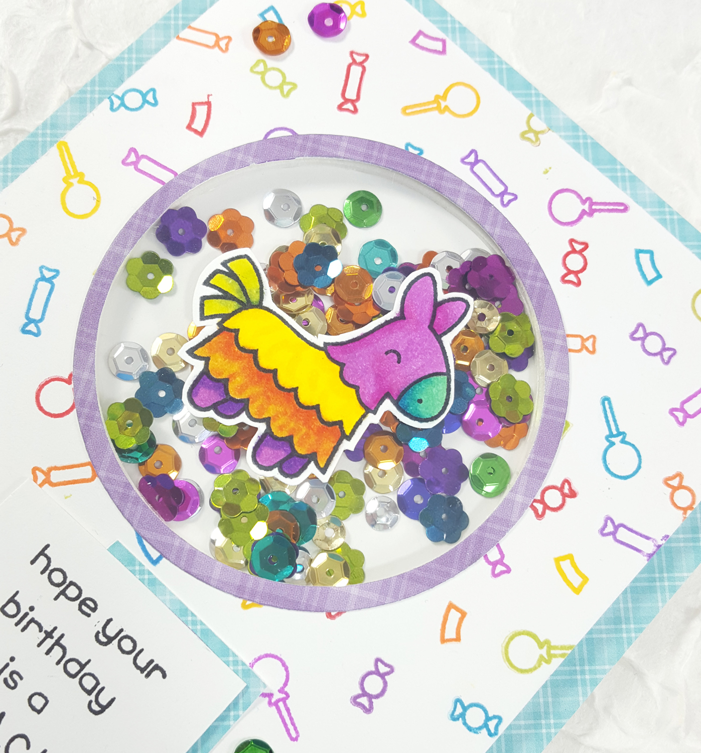 Pinata Shaker Card with Lawn Fawn & Spectrum Noir Markers - Detail
