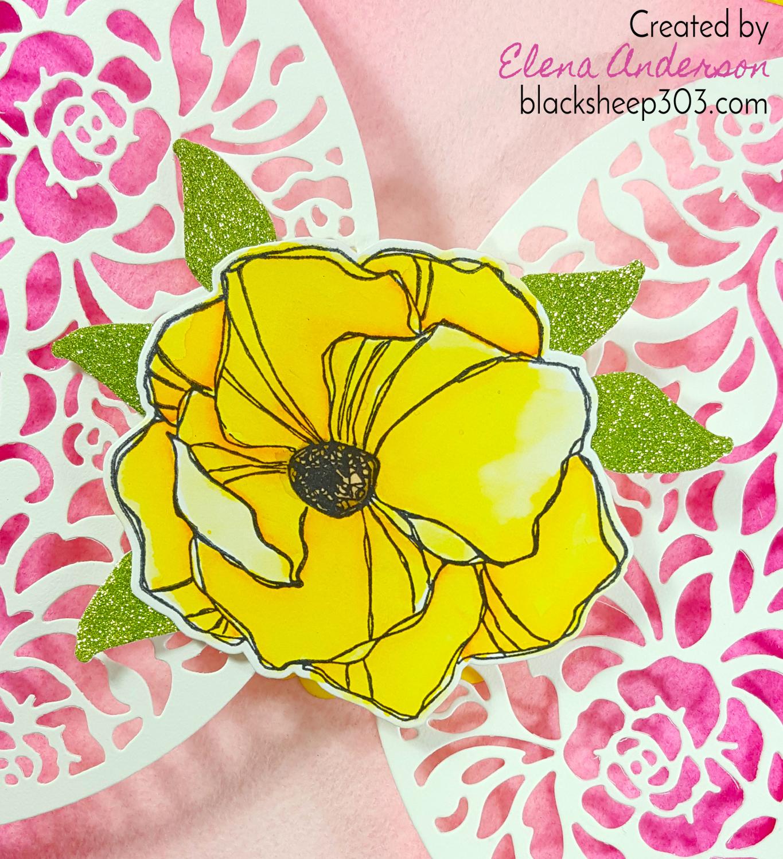 Ombre Gatefold Card with Elizabeth Craft Designs - Detail