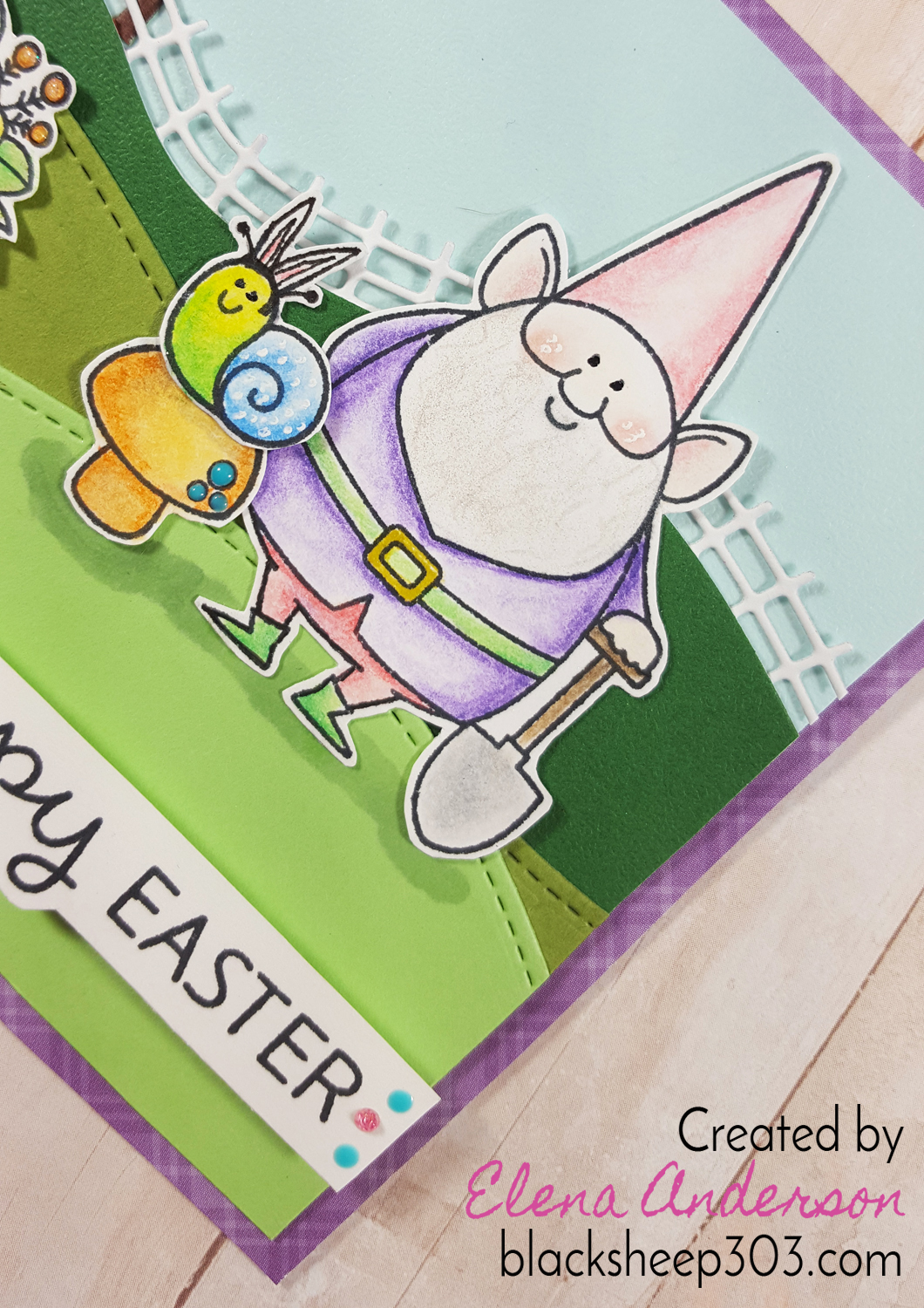 My Favorite Things You Gnome Me Easter Card - Detail