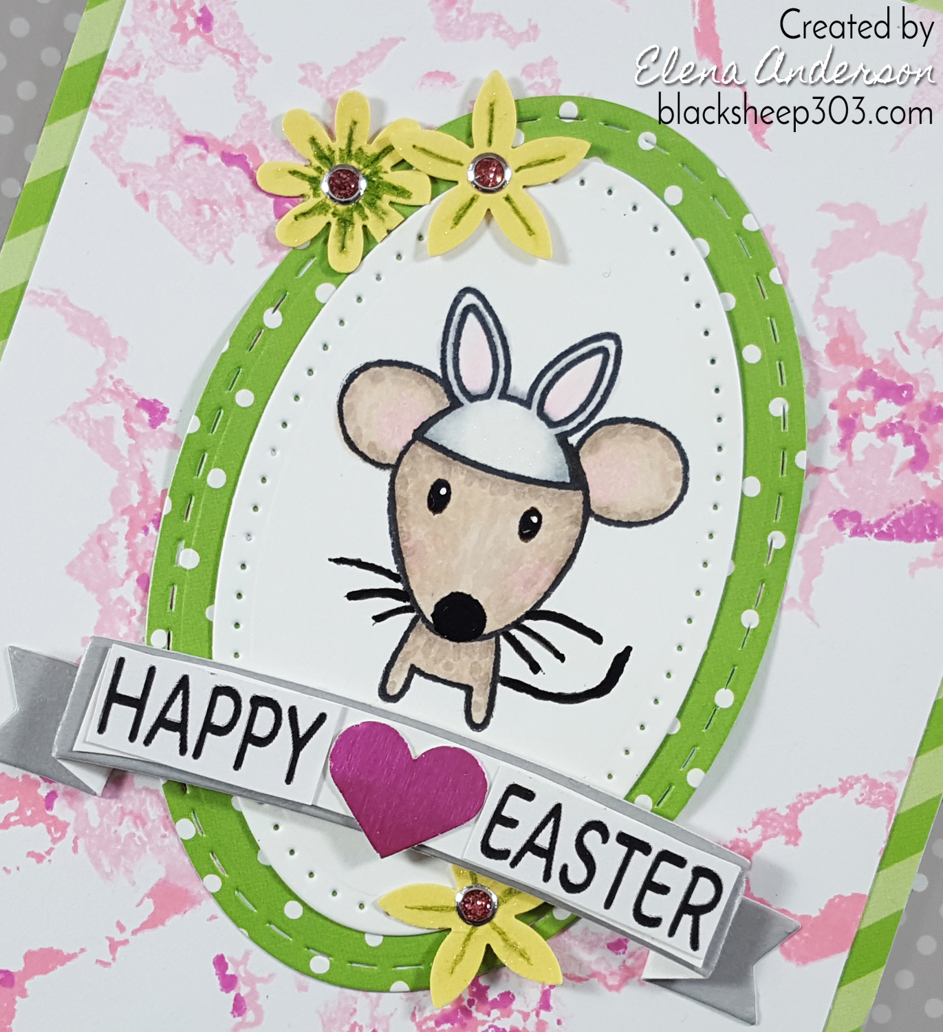 Waffle Flower Marble & Hear Arts Mouse Easter Card - Detail