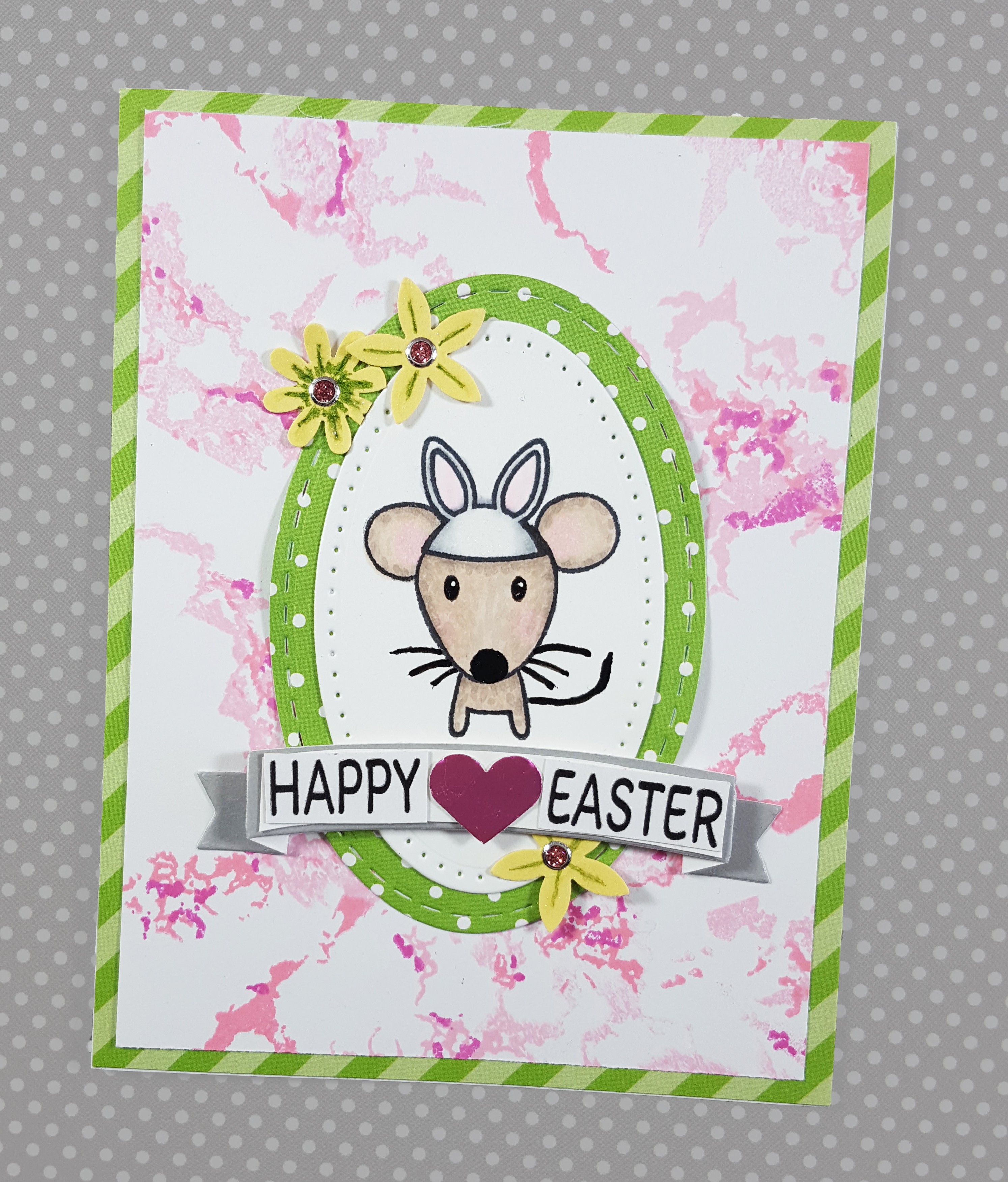 Waffle Flower Marble & Hear Arts Mouse Easter Card