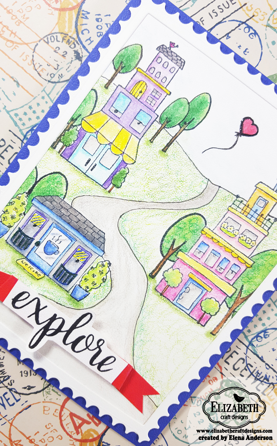 Row Houses Postage Stamp Card with Elizabeth Craft Designs - Detail