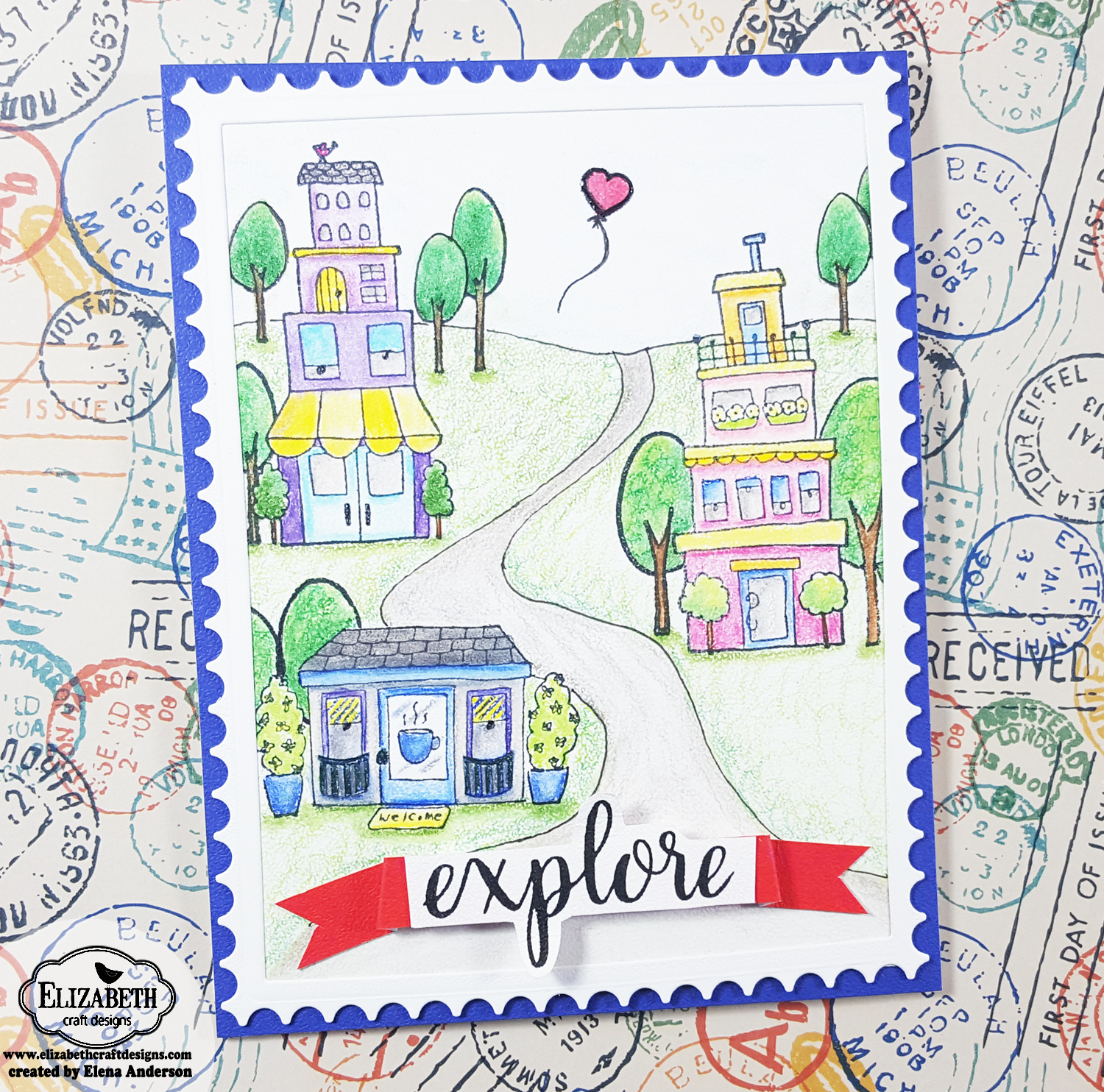 Row Houses Postage Stamp Card with Elizabeth Craft Designs