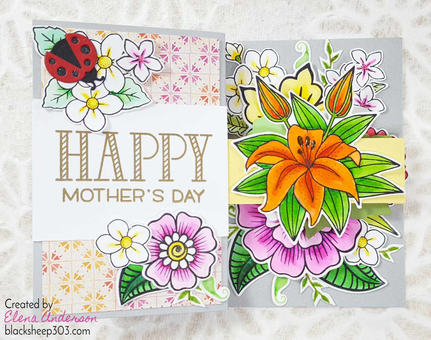 Double Z Fold Bouquet Mother's Day Card